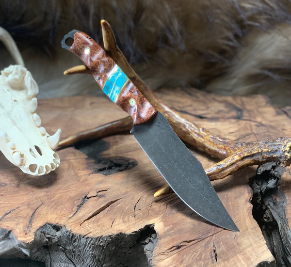 Crow scout blade, beautiful box elder burlwoo, turquoise with gold web, brass pin striping, fde G10 linres, brass mosaic pins,