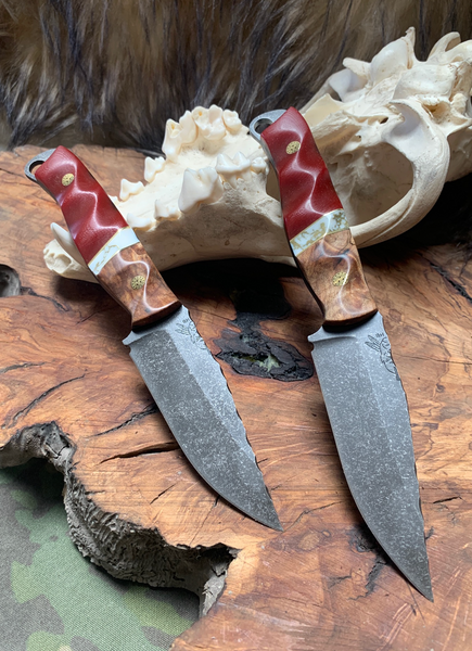Crow jr blade, spalted maple burl wood split, white turquoise with gold web, red G10, brass pin striping, brass mosaic pins,