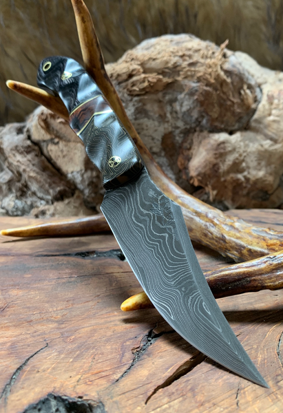 Red cloud blade, damascus, jungle camp crazy micarta, desert ironwood, black and charcoal dymalux, brass pin striping, black and mas grey G10 liners, mosaic pins, brass lanyard pin, textured,