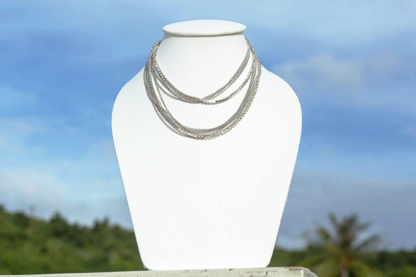 SRN632 Silver Multi Layer Choker