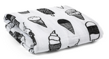 Modern Burlap Muslin Swaddle - Ice Cream Love