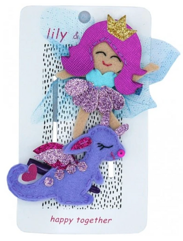 Lily & Momo Fairy and Dragon Hair Clip Duo