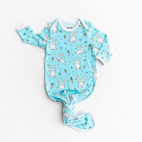 Little Sleepies Aqua Bunnies Bamboo Viscose Infant Knotted Gown