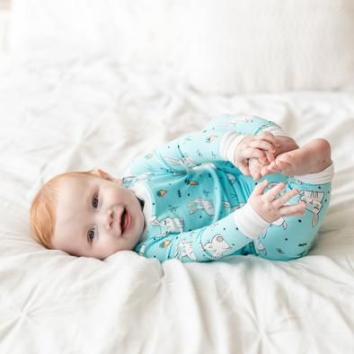 Little Sleepies Aqua Bunnies Two-Piece Bamboo Viscose Pajama Set