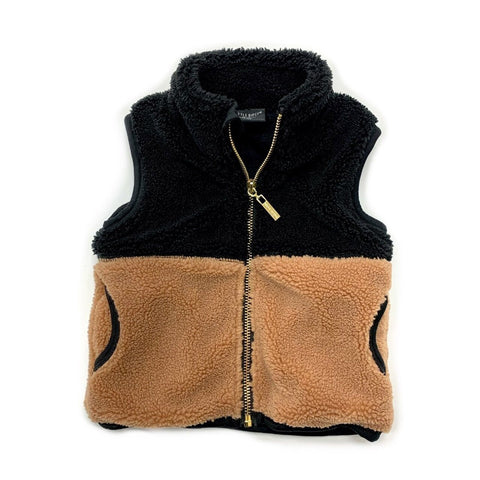 Little Bipsy Sherpa Vest- Camel/Black (Sale!)