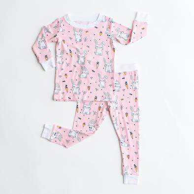Little Sleepies- Pink Bunnies Two-Piece Bamboo Viscose Pajama Set