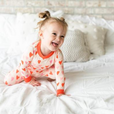 Little Sleepies Hearts Two-Piece Toddler/Kids Bamboo Viscose Pajama Set