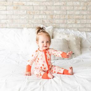 Little Sleepies Hearts Baby Bamboo Viscose Zippy
