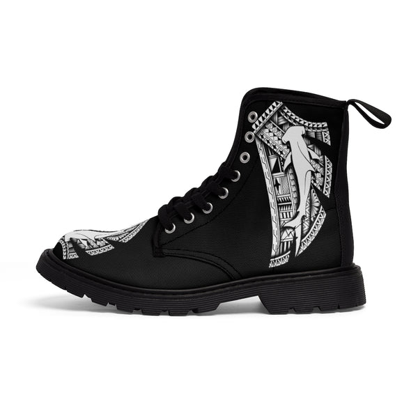 Hammerhead Tattoo by Micronesian Artist Leo Pugram Men's Canvas Boots