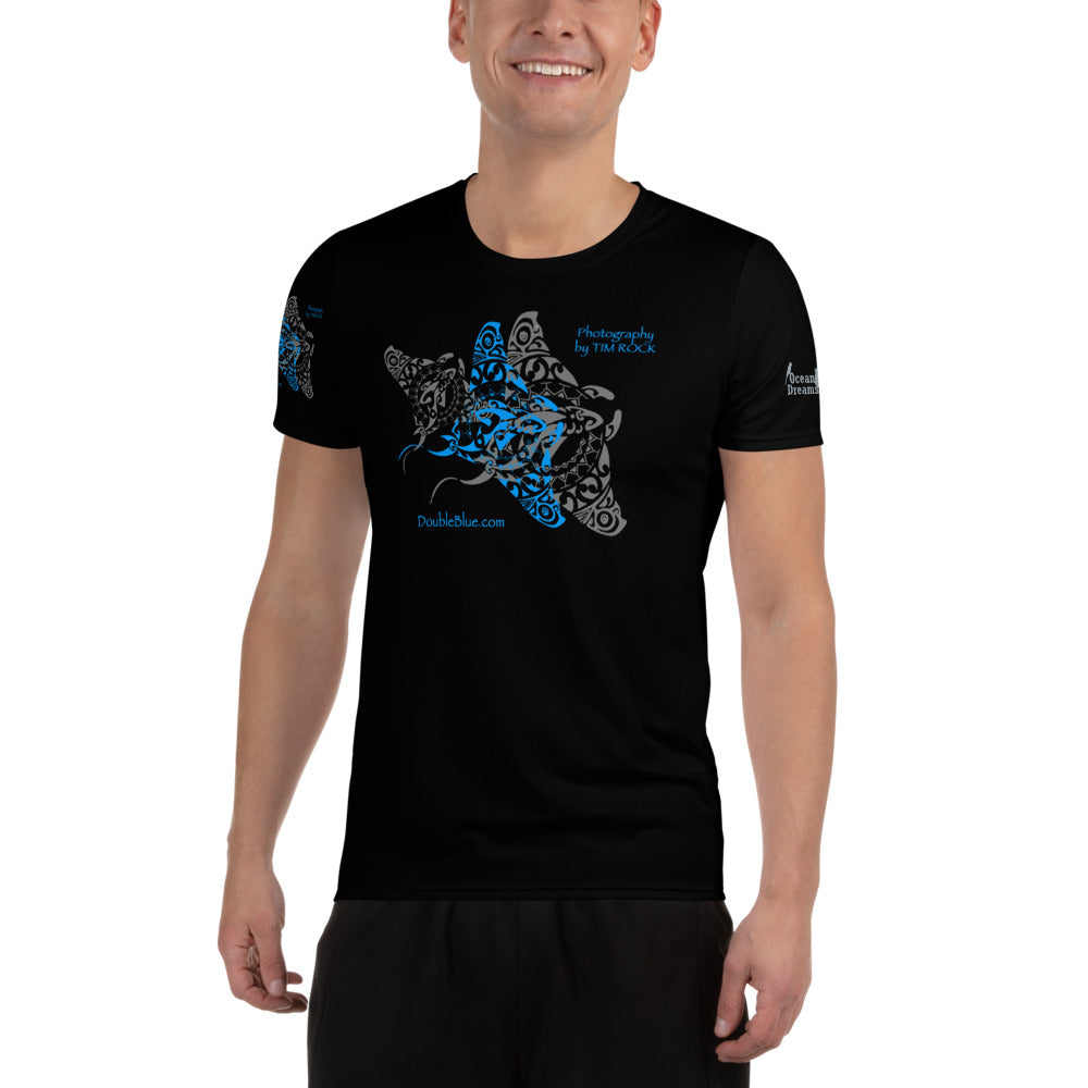 Double Blue Tattoo Black All-Over Print Men's Athletic T-shirt
