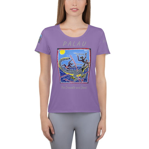 Palau Legends - The Crocodile and Demei - All-Over Print Women's Athletic T-shirt