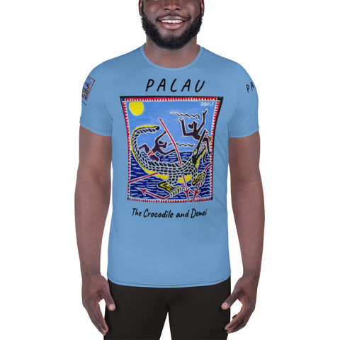 Palau Legends - The Crocodile and Demei - All-Over Print Men's Athletic T-shirt