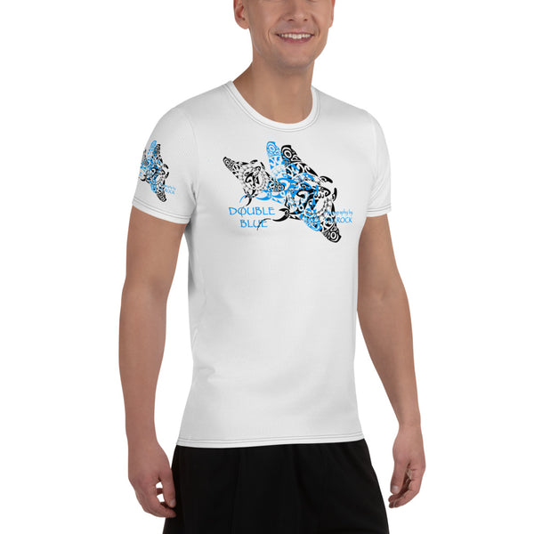 Double Blue Tattoo All-Over Print Men's Athletic T-shirt