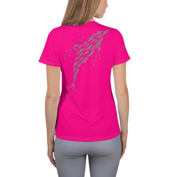 MaxDri Dolphin Dreams Design All-Over Print Women's Athletic T-shirt