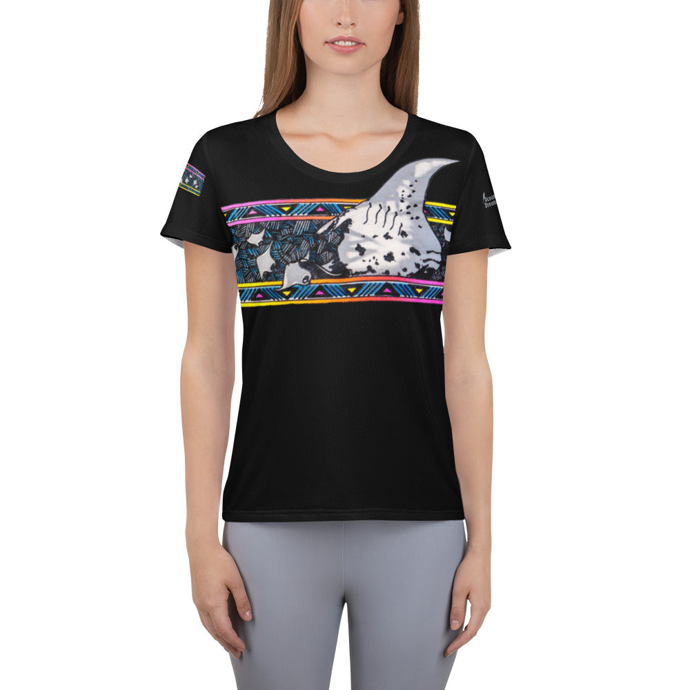 Manta Ray Melody All-Over Print Women's Athletic T-shirt