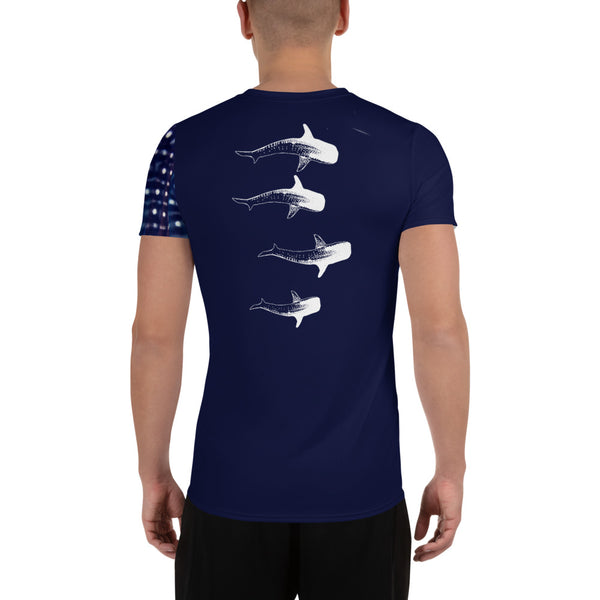 Whale Shark Parade All-Over Print Men's Athletic T-shirt