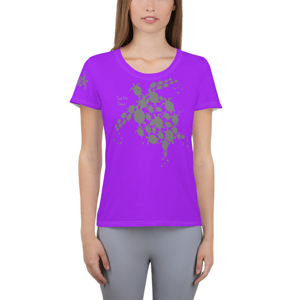 Turtle Town Design MaxDri All-Over Print Women's Athletic T-shirt