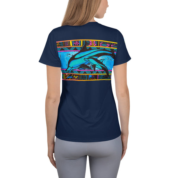 Ladies Dolphin Mother & Baby All-Over Print Women's Athletic T-shirt