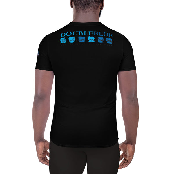 Double Blue Logo All-Over Print Men's Athletic T-shirt