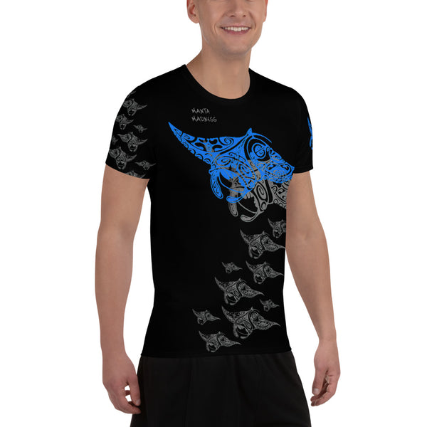 Manta Madness Polynesian Tattoo All-Over Print Men's Athletic T-shirt