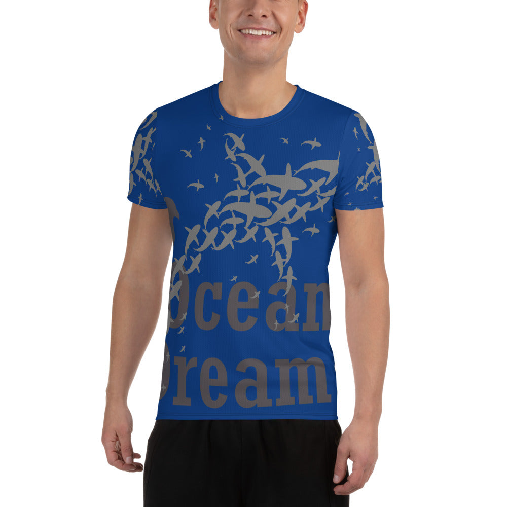 Crazy Sharks All-Over Print Men's Athletic T-shirt
