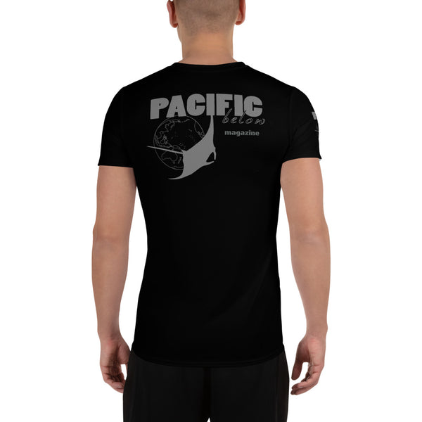 Pacific Below Magazine Logo All-Over Print Men's Athletic T-shirt