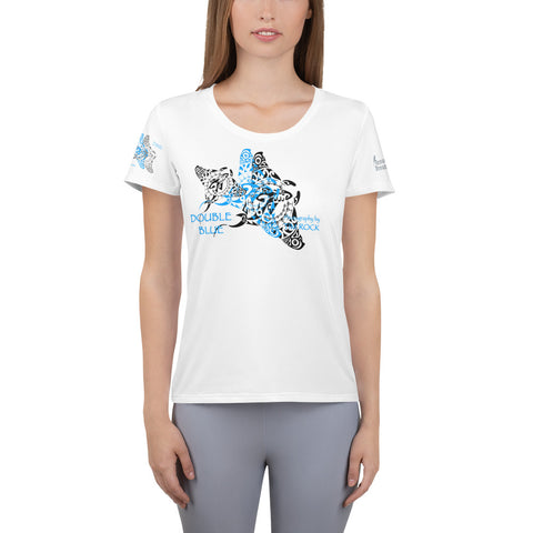 Double Blue Tattoo design All-Over Print Women's Athletic T-shirt
