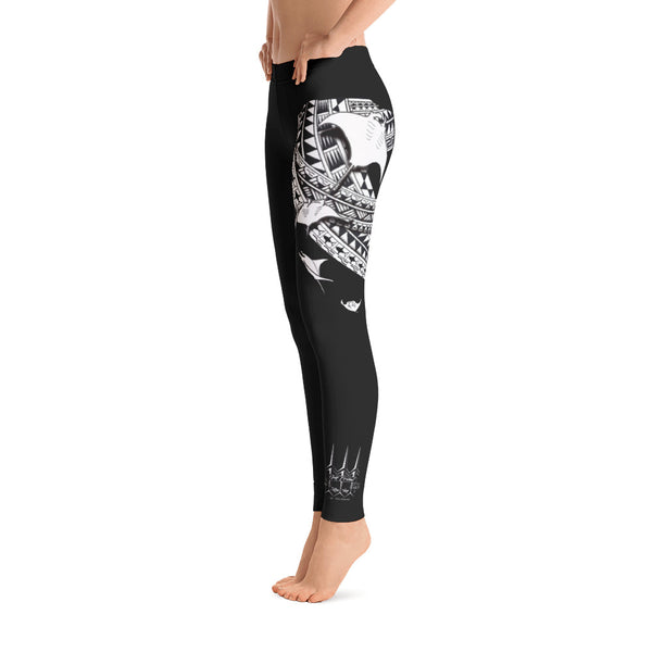 Yap Tribal Manta Tattoo Design Leggings by Leo Pugram