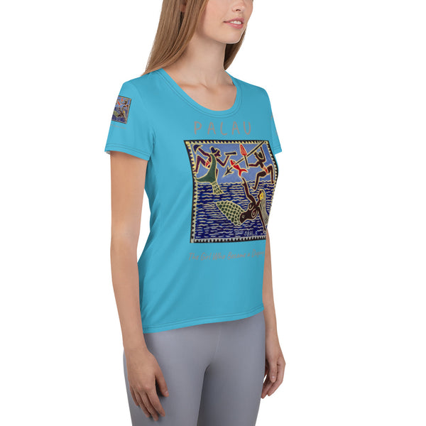 Palau Legends - The Girl Who Became a Dugong - All-Over Print Women's Athletic T-shirt