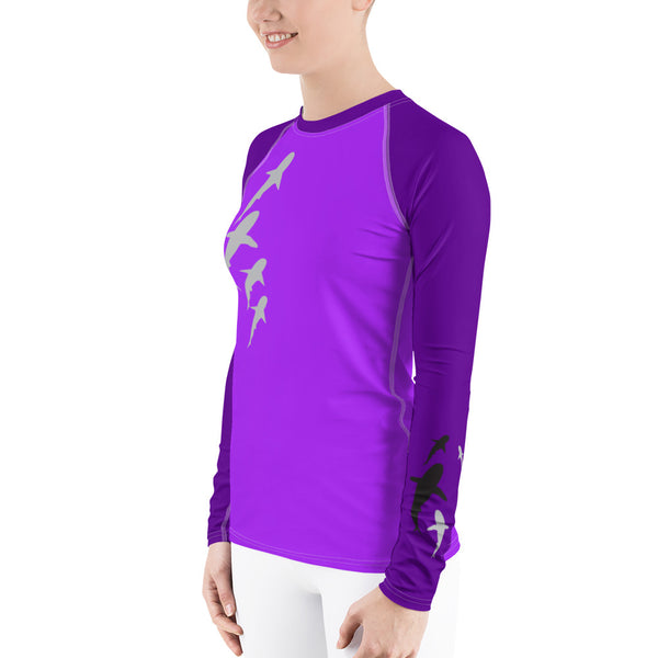 Shark Parade Purple Women's Rash Guard