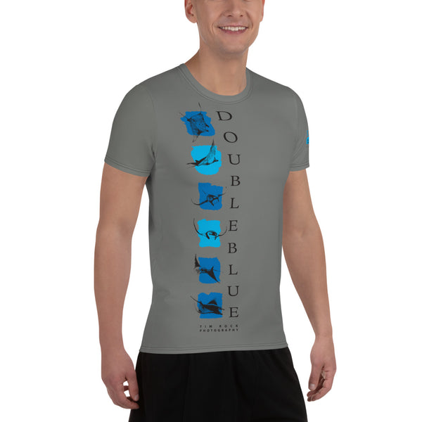 Double Blue Logo T - Photography by TIM ROCK - All-Over Print Men's Athletic T-shirt