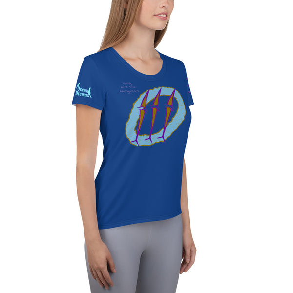Micronesia Navigator Dolphins All-Over Print Women's Athletic T-shirt