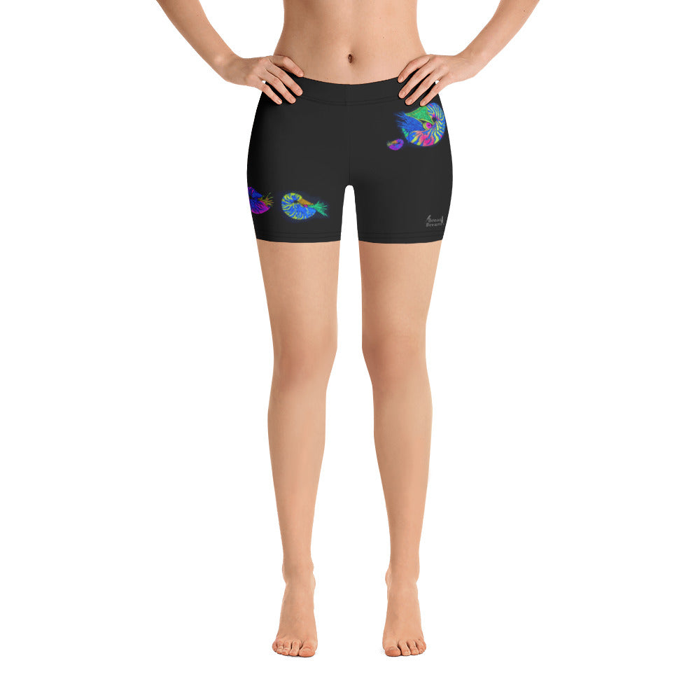 Chambered Nautilus Stretch Shorts for Ladies