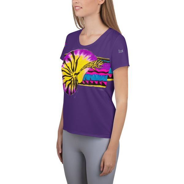 Micronesian Nautilus Thatch Design Ladies All-Over Print Women's Athletic T-shirt