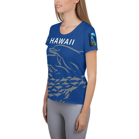 Hawaii Dolphin Dreams All-Over Print Women's Athletic T-shirt