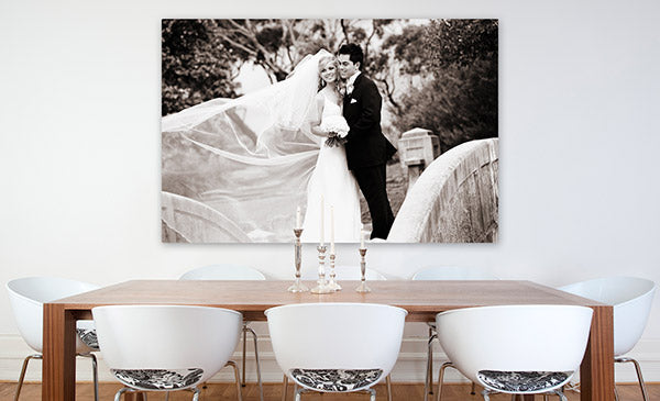 Wedding photo printed and stretched on canvas