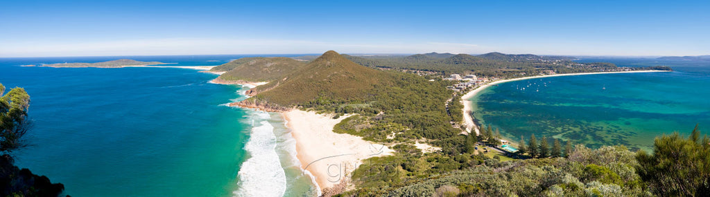Panoramic photo of Port Stephens showing Shoal Bay to the right and Zenith Beach to the left.