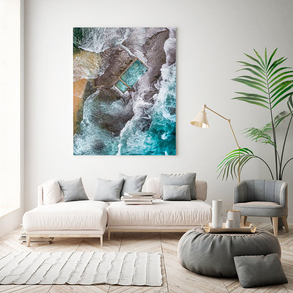 Beach canvas print displayed in lounge room