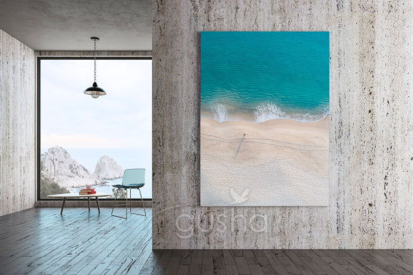 Beach canvas print displayed in modern home
