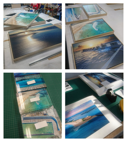 Framed prints and acrylic blocks featuring Newcastle beaches