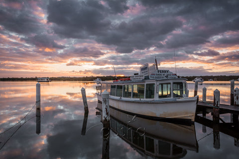 A photo of a ferry docked at Tea Gardens, Australia
