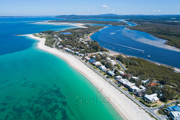 An aerial photo of Jimmys Beach and Winda Woppa in Australia