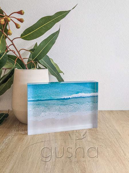 Acrylic desk block featuring Hyams Beach JB3667