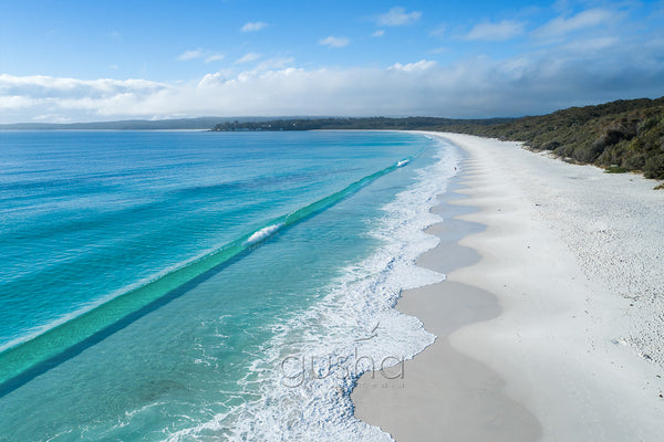 An aerial photo of Hyams Beach, Australia