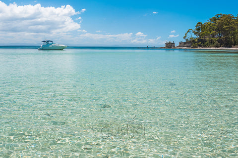 A photo of beautiful clear water captured along the shoreline of Hole in the Wall Beach, Australia