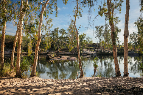 The oasis near Manning Gorge camp grounds provides welcome relief from the heat of the outback sun. The rope across the water simplifies the crossing in a small dingy and marks the beginning of the half day trek to Manning Falls.