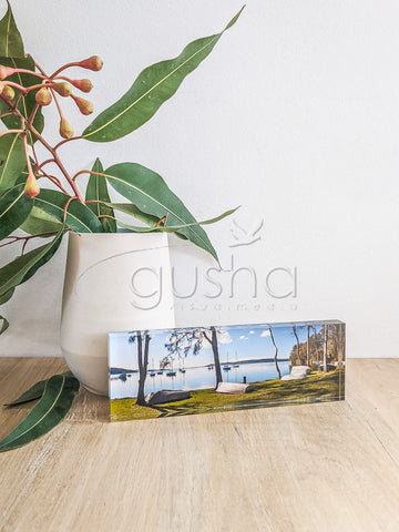 Acrylic desk block featuring Lake Macquarie LM1543