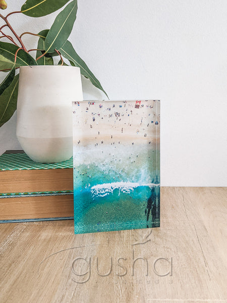 Acrylic desk block featuring Newcastle Beach NE3763