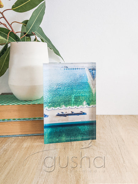 Acrylic desk block featuring Merewether Pool NE3767