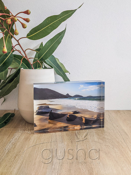 Acrylic desk block featuring Box Beach PS0545